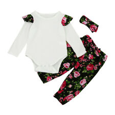 Newborn Toddler Infant Baby Girls Floral Romper Tops+Pants+Headband Outfits Set