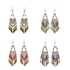 Charm Hook Braid Beads Leaves Dangle Tassel Earrings Behomia Ethnic Style