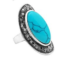 Big Oval Blue Stone Rings Vintage Rhinestone For Women Antique Silver Plated