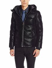 Guess Puffer Jacket Mens Down Filled Thick Faux Suede Removable Hood L Black NEW