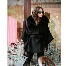Women's Luxury Double Breasted Batwing Cape Poncho Coat Jacket Fur CLSV