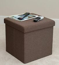 Folding Fabric Storage Ottoman Square Cube Box Lounge Foot Rest Stool Seat Brown