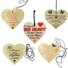 Wooden Heart Hanging Gift Plaque Wood Sign Tags Gift Family Love Friendship Sign