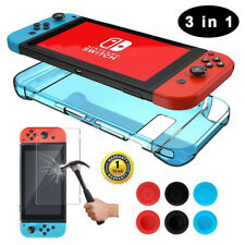 For Nintendo Switch Hard Shockproof Case+1Tempered Glass Film+6 Thumb Grips Caps