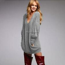 Stylish Women Casual V Neck Long Sleeve Loose Solid Leisure Top Blouse FF