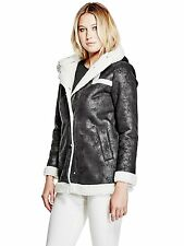 Guess Jacket Women's Hooded Shearling Sherpa Lined Winter Coat M Black NWT