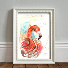 RED FLAMINGO PRINT ORIGINAL WATERCOLOUR  SIGNED POP ART ABSTRACT  FRAME