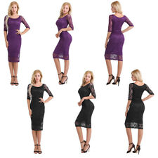 Womens Sexy 3/4 Sleeve Flare Retro Lace Cocktail Party Club Pencil Sheath Dress