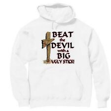 Pullover Hooded hoodie christian sweatshirt Beat the devil with big ugly stick
