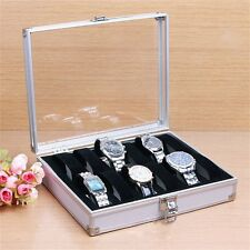 12 Grid Slots Jewelry Watches Display Storage Box Case Aluminium Square UL