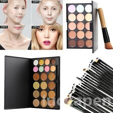 15 Colors  Makeup Facial Concealer Camouflage Cream Palette Cosmetic & Brush LCH