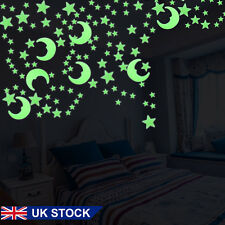 3D Plastic Ceiling Wall Room Stickers Green Moon Stars Glow in the Dark