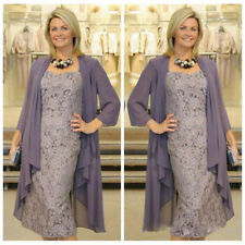 Purple Mother Of The Bride Dress Tea Length Lace With Chiffon Jacket Custom Gown