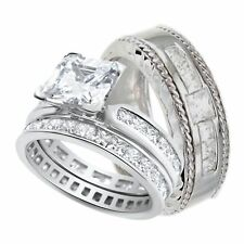 His and Hers Wedding Ring Set Matching Bands for Him Her