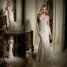 NEW White Beading Mermaid with Train Wedding Dresses V Neck Backless Bridal Gown