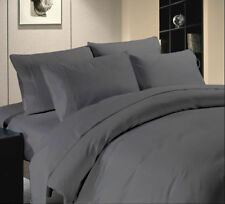 Egyptian Cotton 1000 Tc Sheet Set Doona Set Fitted Elephent Grey Solid Queen