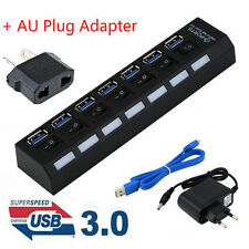 4/7Ports USB 3.0 Hub with On/Off Switch+AU AC Power Adapter for PC Laptop Lot AG