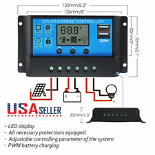 LCD 30A - 10A 12V 24V Solar Panel Charger Controller Battery Regulator Dual USB