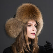 Womens Ladies Real Fox Fur Hat Russian Ushanka Lamb Leather Top Warm Winter 54
