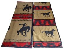 Rodeo Cowboy/Horse Southwestern Queen Reversible Tan/Brown Bedspread