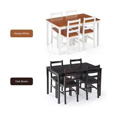 5PCS Natural Pine Wood Dining Table Set Kitchen Dinette Table With 4 Chairs U1Z5
