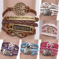 Leather Infinity Charm Bracelet Cute Leather Multilayer Infinity Love Heart LE
