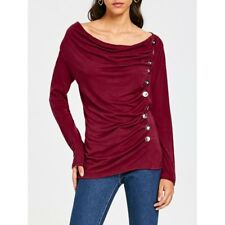 Women's Vogue Cowl Neck Long Sleeve Button Embellished Blouse