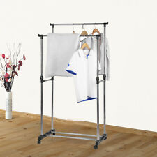 PORTABLE STAINLESS STEEL DOUBLE CLOTHES RACK HANGER CLOTH COAT GARMENT DRYER HA