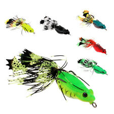 Silicone Frog Soft Fishing Lures Bass Crankbaits Floating Baits with Skirts