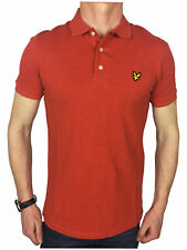 Lyle & Scott Mens Logo Branded Cotton Polo Shirt in Flame Red Marl