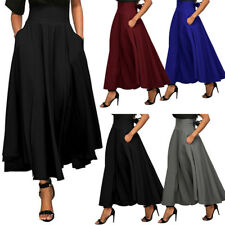 Women Long Gypsy High Waist Maxi Skirt Stretch Full Length Skirts Dress + Pocket