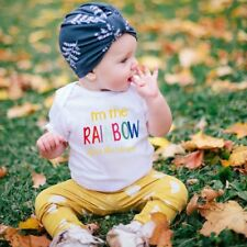 "Summer Baby Unisex Short Sleeves ""RAINBOW"" Letters Printing Triangle Romper  GN"