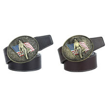 Womens Men Leather Belt Western Cowboy American Flag Rider Jeans Waist Belts