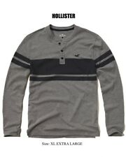 Abercrombie & Fitch - Hollister T-Shirt Men's L/S Striped Henley Tee XL Grey NEW