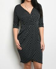 Polka Dot Faux Wrap Dress | Dot Print Faux Wrap Dress | Sheath Body-con Plus
