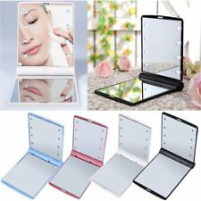 LED Make Up Mirror Cosmetic Mirror Folding Portable Compact Pocket Gift RJ