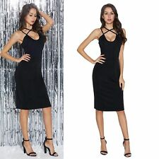 Lady Midi Dresses Plunge Strappy Backless Split Skinny Stretch Slip Dress Ball