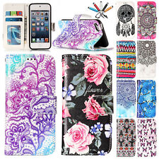 Magnet Pattern Leather Wallet Stand Case Cover For Apple iPod Touch 5th 6th Gen
