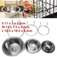 Stainless Steel Hanging Bowl Feeding Bowl Pet Bird Dog Food Water Cage Cup ~#