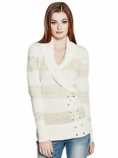 Guess Sweater Women's Shawl Collar with Lace Up Detail Pullover Top S Cream NEW