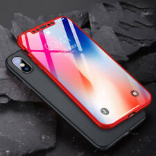 Luxury 360° Hybrid Hard Plastic Case Tempered Glass Cover For iPhone X 7 8 Plus
