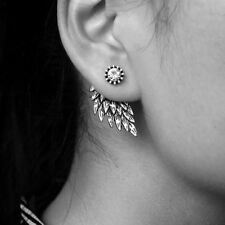 Vintage Gothic Angel Wing Alloy Stud Earrings Cool Black Antique Silver Color Fe