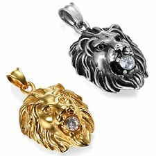 Fashion Mens Stainless Steel Gold Silver Tone Lion Head Pendant Necklace with CZ