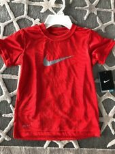 NWT Nike T-Shirt Boys Size 6 7 Core Fitted Swoosh Tee Dri Fit Red Big Swoosh