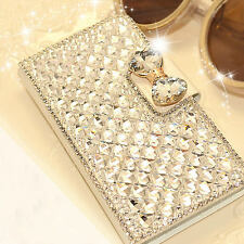 Luxury Bling Diamond Bowknot Crystal Wallet Flip Case Cover For iPhone Samsung