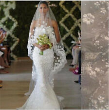 White/Ivory Cathedral Wedding Veil 1T 3M Long Lace Flowers Pearls Bridal Veil CR