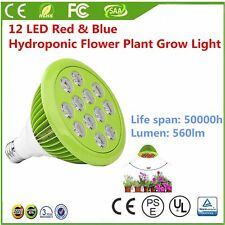 12/24W E26/E27 PAR38 12 LED Red & Blue Hydroponic Flower Plant Grow Light Bulb&X