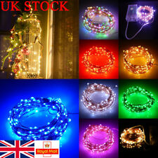 UK Fairy Copper Lights 20/50/100 LED Battery Wire String Outdoor Party Decor