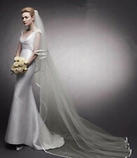 New Wedding Veils 2 Layer Satin Edge Bridal Bride Veil White Ivory With Comb SC