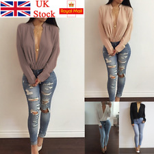 UK Women Deep V Neck Chiffon Blouse Long Sleeve Wrap Shirt Casual Loose Crop Top